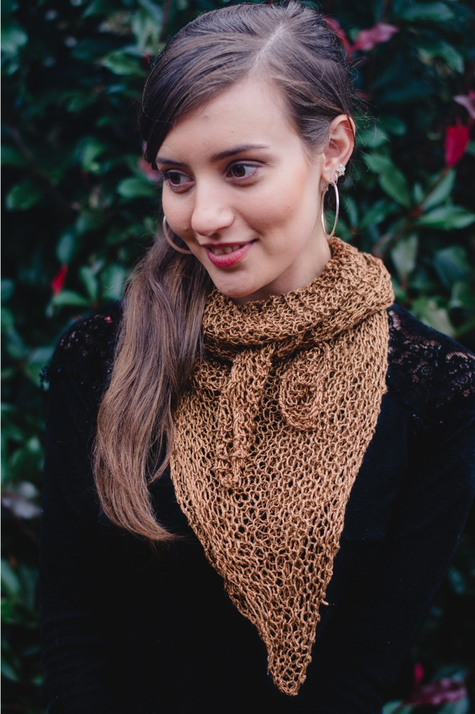Rosabella Luxe Silk Shawl Caramel front view