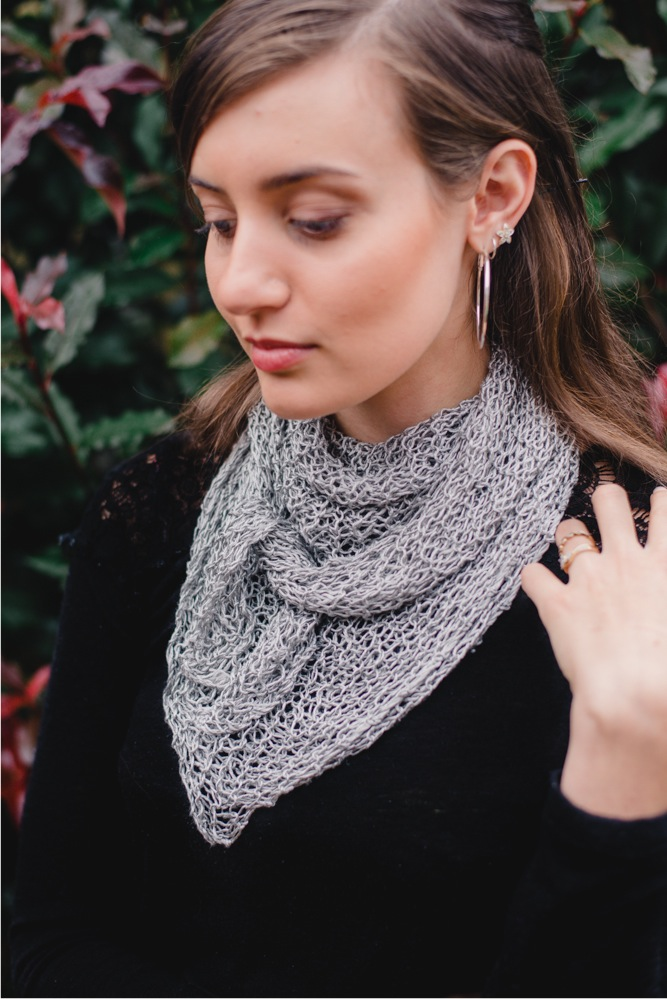 Rosabella Luxe Silk Cowl Silver front view
