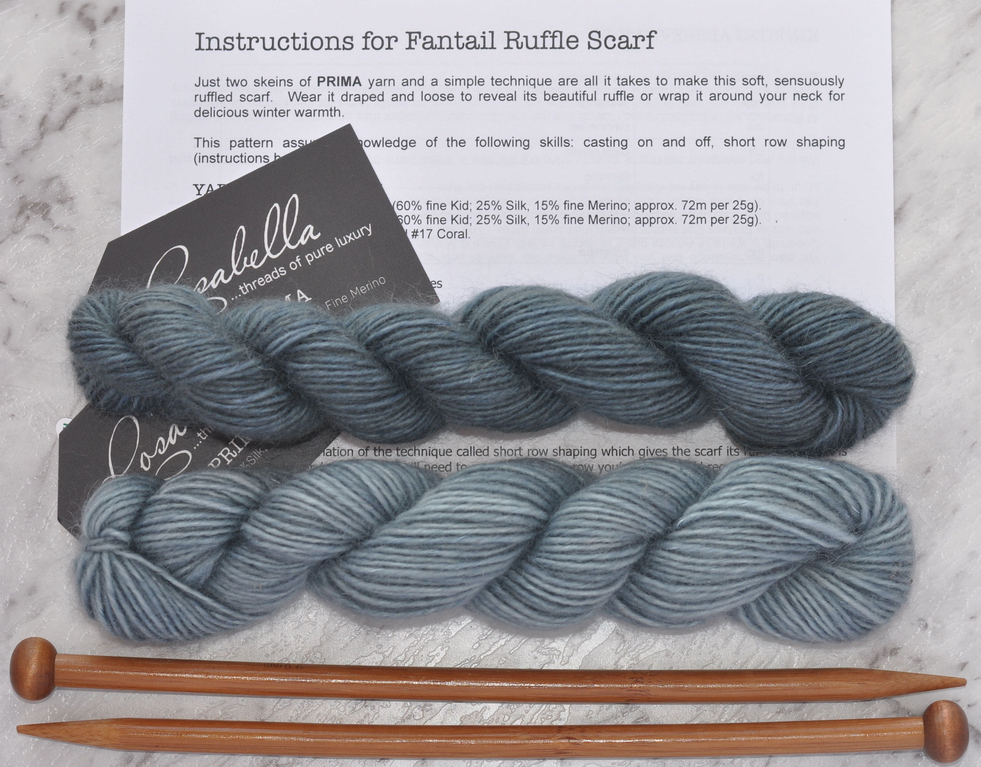 Prima Fine Kid Merino 5 ply yarn Storm and Blue Ice