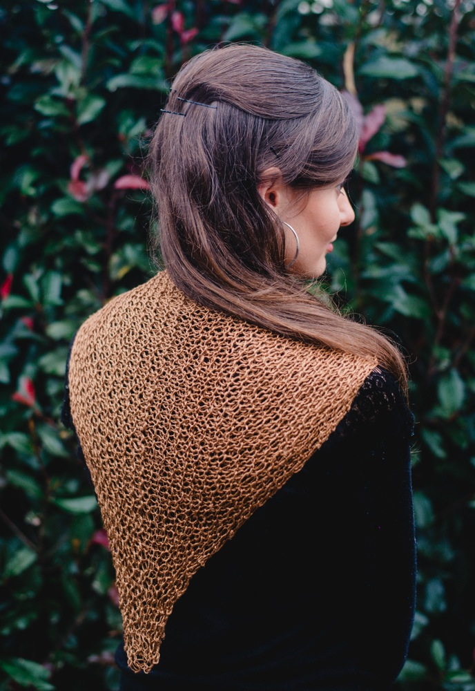Rosabella Luxe Silk Shawl Caramel back view