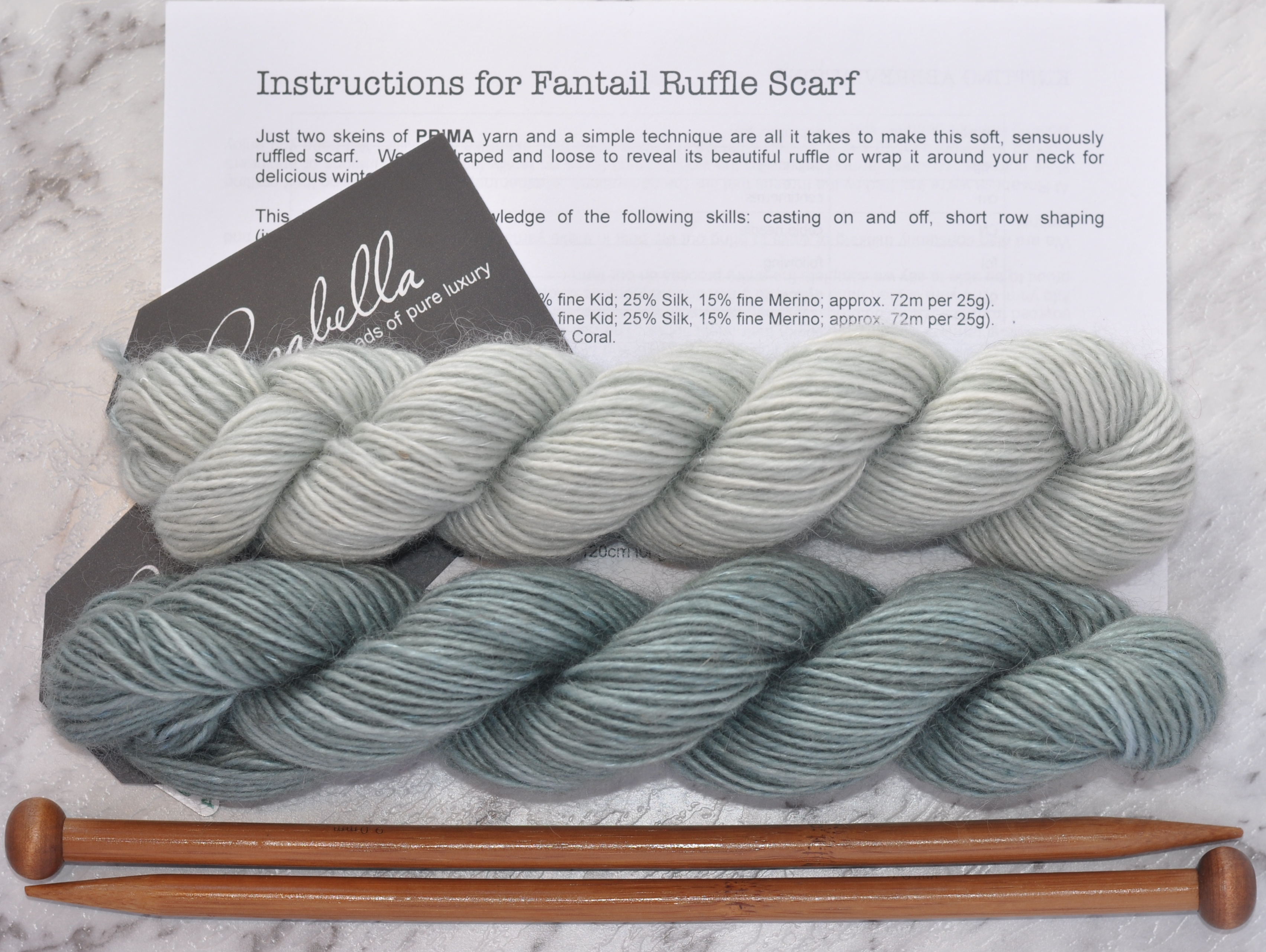 Prima Fine Kid Merino 5 ply yarn Eucalypt and Clearwater