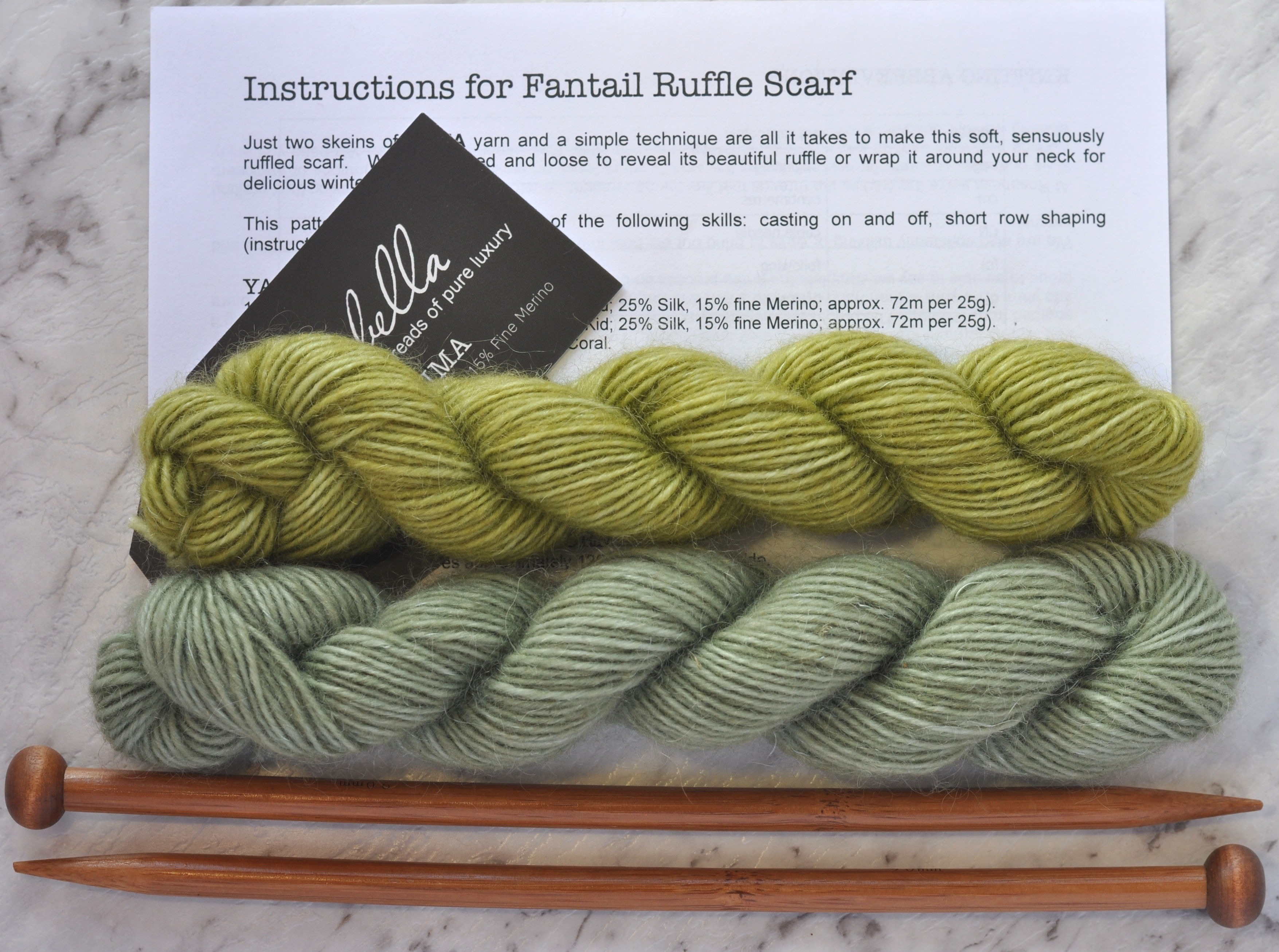 Prima Fine Kid Merino 5 ply yarn Lime and Bonsai